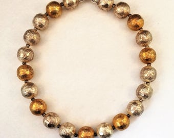 RARE Sterling Silver and Gold Washed Contemporary Hammered Bead Necklace - Marked Jan Suchodolski