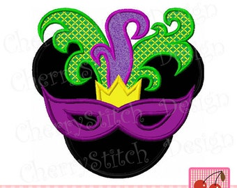 Mardi Gras Embroidery Design, Mask Mouse,Mardi Gras Minnie, Minnie with Mask Digital applique MM0079-approximate 4x4 5x5 6x6 inch