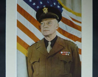 1940s Antique WW2 Print of General Dwight D. Eisenhower, Available Framed, Military Art, American WWII Decor, Army Gift, Second World War