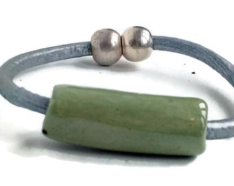 Silver leather bracelet, bracelets for women, with magnetic clasp, silver plated clasp, handmade large ceramic bead, gift for women, wife