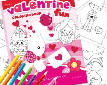 80% OFF SALE Valentine Coloring book, Printable colouring book, Valentine colouring pages, Valentine's day coloring , instant PDF - CB101
