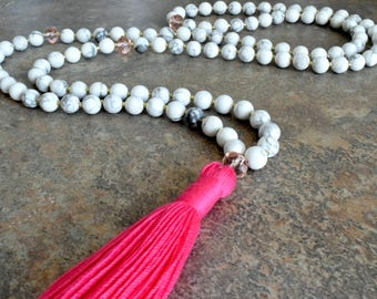 108 Mala Bead, Mala Necklace, Gemstone Bead Necklace, Tassel Necklace, Meditation Bead Necklace, Yoga Necklace, Buddhist Jewelry, Handmade