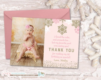 Winter Onederland Thank You Card, Winter Thank You Card, Snowflake Thank You Card, Pink and Gold Thank You Card, First Birthday Thank You