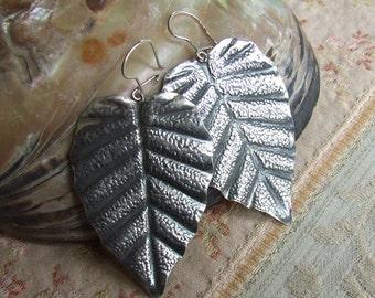 Vintage Silver Leaf Shape Earrings by Imago Artis of Cracow Krakow Poland