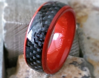 Titanium 8mm Red EP Ring with Black Carbon Fiber Inlay Comfort Fit Mens Womens Personalized Wedding Band Ring Mans Jewelry AZ155