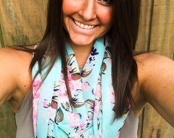 Seafood Floral Infinity Scarf