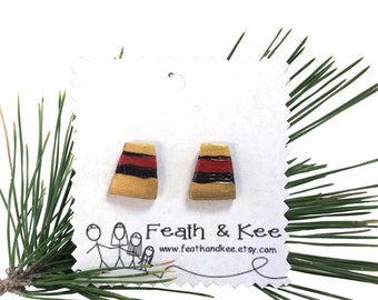Red Gold and Black Wooden Trapezoid Earrings