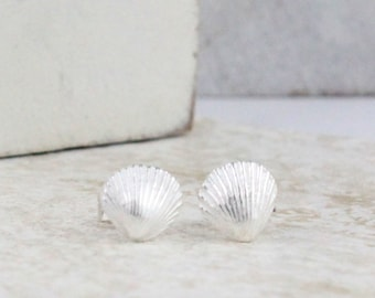Sterling Silver Shell Studs-Dainty Shell Earrings-Beach Jewellery-Pretty shell earrings-Silver Sea shells-Classic Jewellery-Small Studs