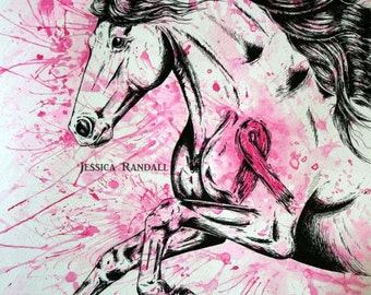 """Breast Cancer Fighter Horse; 12x16"""" Art Print"""