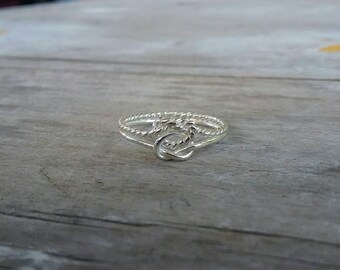 Double love knot dainty pinkie ring sterling silver