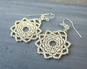 Silver Mandala Earrings Silver Earrings Dangle Bohemian Earrings Sterling Silver Glass Earrings Boho Gifts For Her Beaded Jewelry Handmade