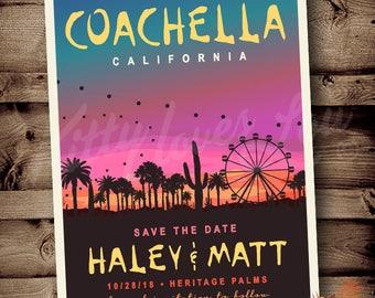 PRINTABLE Coachella Save the Date Announcement Festival Bohemian Boho chic desert sunset Indio wedding celebration bridal birthday invite