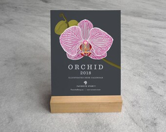 2018 Desk Calendar with Wood Stand, Orchids, floral