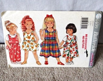 Toddlers romper and dress Pattern, Butterick 4409, uncut, size 1-3, sewing pattern, 1996, jumpsuit pattern