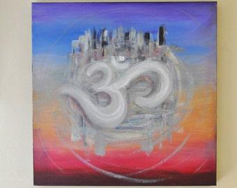 "Floating Ohm  - Ohm Painting - Om Painting - Yoga Painting - 24"" x 24"" x 1 1/2"""