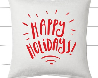 Red and White Happy Holidays Christmas Pillow and Insert Christmas Decoration Christmas Saying Holiday Pillow Red White Christmas
