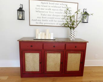 KITCHEN STORAGE BUFFET Sideboard - Dining Room Cabinet - Rustic Decor - Barn Red - Ready to Ship