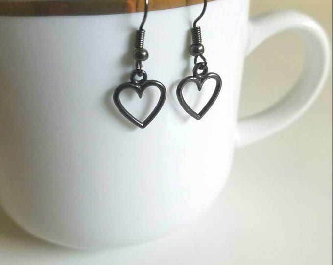 Black Heart Shaped Dangle Earrings