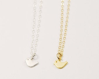 Tiny bird necklace | Silver tiny necklace, Gold tiny necklace, Dainty tiny charms necklaces, Dainty bird necklace, Gift for sister