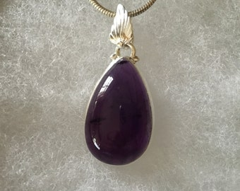 Amethyst Gemstone Pendant Necklace in Sterling Silver