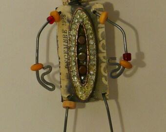 Steampunk Reclaimed Recycled ArtWear Brooch, Brooch,Whimsy Pin Doll, Hat Art, Wearable Art,Fairy Tale Doll,Coat Art,Salvage Art Wear, Funky