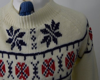 Vintage 70s/80s White Ski Sweater by JC Penney Size Small