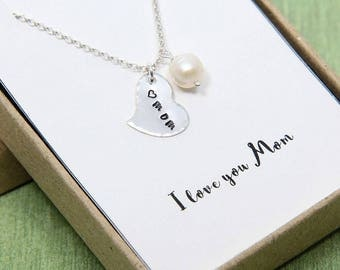 Mom Necklace, Love you Mom Necklace, Sterling Silver Heart Necklace, Mom Heart Necklace, Mothers Necklace, Gift for Mom, Mothers Day Gift