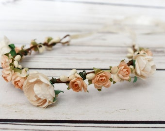 Handcrafted Peach and Cream Flower Crown - Flower Girl Halo - Peach and Cream Wedding - Bridal Hair Wreath - Renaissance Flower Crown