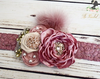 Handcrafted Dusty Rose Headband - Over the Top Bows - Vintage Style Accessory - Mauve Feather Headpiece - Adult Headband - Fancy Toddler Bow