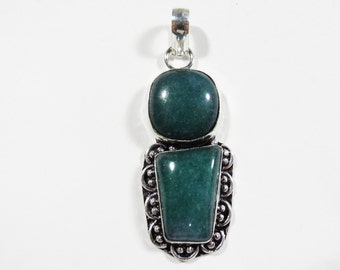 Natural Dark Green Aventurine Gemstone Pendant, Sterling Silver Gem Pendant, 59x21mm, Aventurine Necklace, Green Gemstone Necklace Pendant