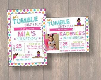 Gymnastic invitation, Gymnastic Birthday Party, Gymnastic Birthday, Tumble Birthday Party, Girl Birthday Invitation