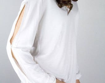 Open sleeve top, soft jersey top, white jersey blouse, oversized jersey top, white jersey top, white hippie top, white boho top,
