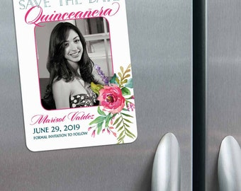 Dulce - Quinceanera Photo Save the Date Magnets + Envelopes