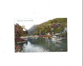 1950s Vintage Color Postcard of The Pier, Loch Katrine, Scotland, Unposted, Tri Colors, Valesque, Vintage Postcard, Ephemera Scot Postcard