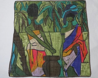1960s Vintage Lady's Cotton Handkerchief in African Tribal Print, 11.75 x 11.5 Inches, Colorful Vintage Handkerchief, Lady's Purse Accessory