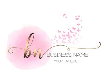 DIGITAL Custom logo design, pink watercolor butterfly logo, pink gold logo, monogram logo gold , photography logo, butterfly pink gold logo