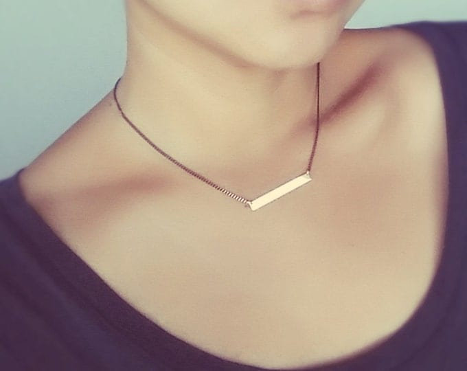 Gold Bar Necklace on Black Chain - Engraved Roman Numeral Bar Necklace