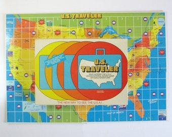 US Traveler - Vintage Board Game - Vintage USA Map Game - Complete Set Original Box - Educational Game Family Game Night - Travel Map Decor