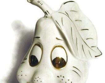 Vintage Large Anthropomorphic Happy Pear Kitschy Figurine Fruit Porcelain Ceramic Pottery Ornament Decoration Anthro White Gold