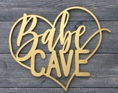 """Babe Cave Heart Wall Sign, 14""""W x 11.5""""H, Wooden Sign, Laser Cut Wood Sign, Cute Sign, Fun Door Sign, Office Sign, Teen Girls Room Sign"""