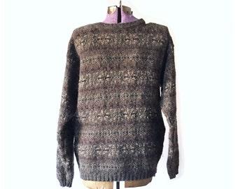 Men's Sweater, Woolrich Sweater, wool sweater, Vintage Sweaters,  Grey Sweater, Brown Sweater, Vintage Clothing,