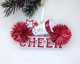 Cheerleader Christmas Ornament / Cheerleading Ornament Red Pom Poms / Personalized Christmas Ornament / Cheer Team Ornament