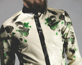 Two-Tone Ink Blot Mirror Print Latex Collared Shirt