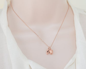 Rose Gold Acorn Necklace, Rose Gold Necklace, Personalized Jewelry, Acorn Necklace