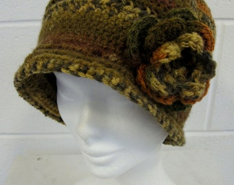 Green and Brown Crochet Cloche Hat, vintage style hat, vintage style cloche hat, green and brown hat, cloche hat with flower and brim