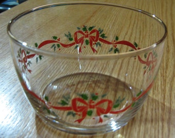 Ribbon and Ivy Holiday Bowl with gold trim rim; clear glass, candy dish, serving dish, flower bowl.  4 1/4 inch diameter; 2 /2 inch high.