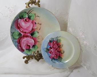 Vintage Hand Painted Germany Pink Rose Plate Set, Circa 1921 - 1930