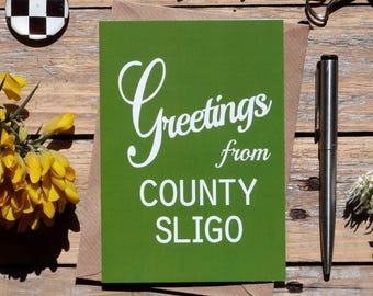 Sligo..Greetings from County Sligo card, Irish made greeting cards, Éire, Irish cards