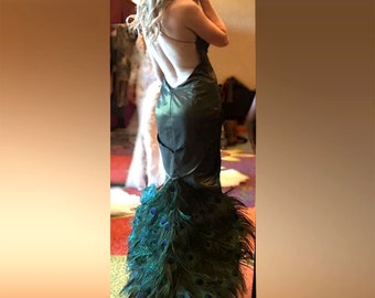 Peacock feathers backless hi-low evening gown, unique dress for petite girl with sophisticated taste and curvy body for special ocasion