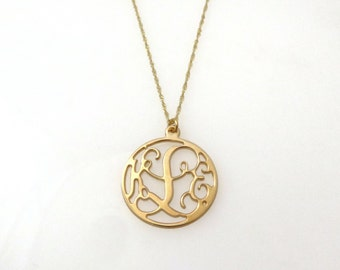 14k Gold Monogram necklace. Personalized Initial necklace.Personalized pendent. Gold monogram necklace. initial jewelry.